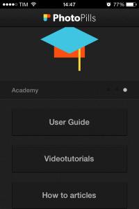 """Come è possibile vedere questi due pulsanti sono accessibili dalla schermata""""Academy"""""""